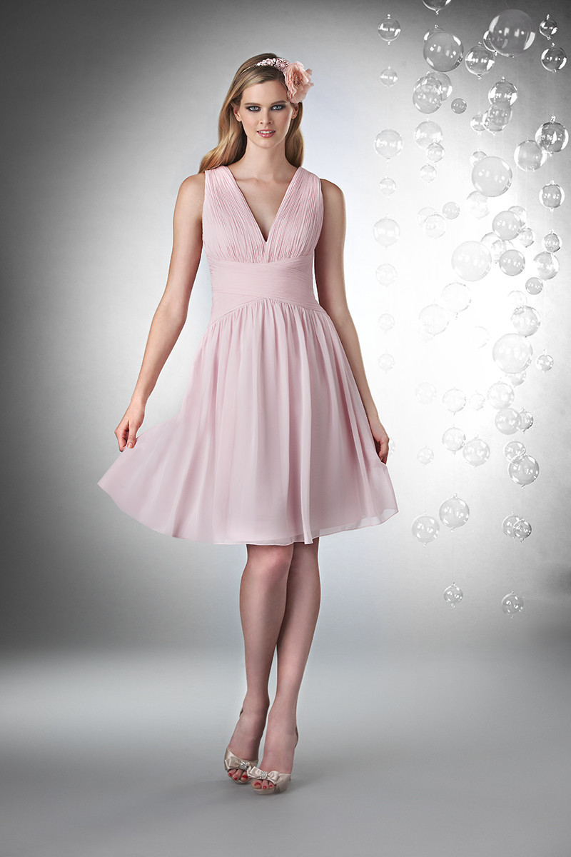 Bridesmaid Dresses, A-line Wedding Dresses, Romantic Wedding Dresses, Beach Wedding Dresses, Fashion, pink, Beach, Spring, Summer, Modern, Romantic, A-line, V-neck, V-neck Wedding Dresses, Short, Chiffon, Formal, Natural, Sleeveless, Ruching, Bari Jay Bridesmaids, Short Wedding Dresses, Modern Wedding Dresses, Spring Wedding Dresses, Chiffon Wedding Dresses, Formal Wedding Dresses, Summer Wedding Dresses