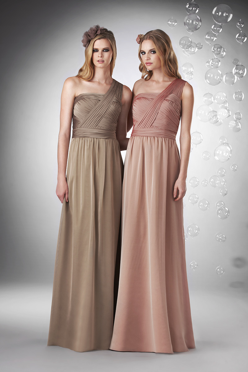 Bridesmaid Dresses, One-Shoulder Wedding Dresses, A-line Wedding Dresses, Vintage Wedding Dresses, Hollywood Glam Wedding Dresses, Fashion, pink, brown, Spring, Summer, Vintage, Classic, A-line, Floor, Chiffon, Natural, Sleeveless, Ruching, One-shoulder, hollywood glam, Bari Jay Bridesmaids, Nautical/Preppy, Spring Wedding Dresses, Classic Wedding Dresses, Chiffon Wedding Dresses, Summer Wedding Dresses, Floor Wedding Dresses