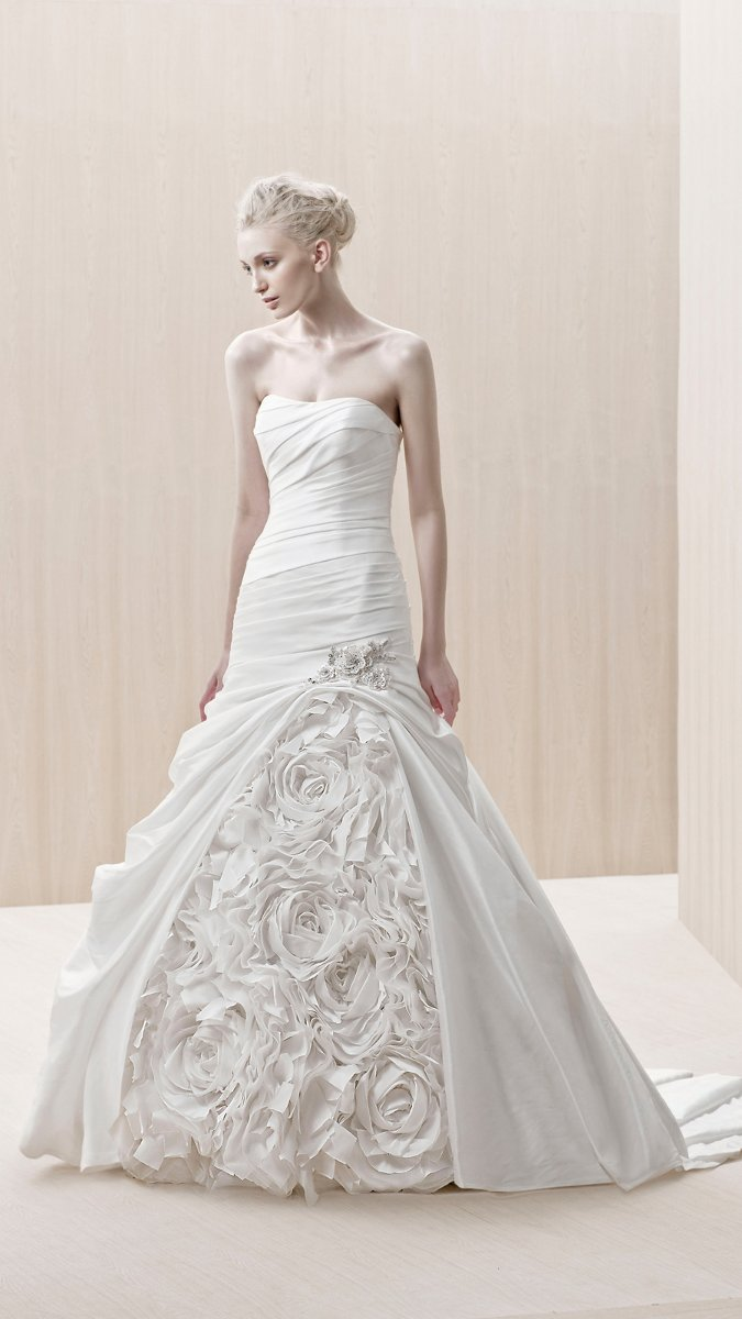 Wedding Dresses, Sweetheart Wedding Dresses, Mermaid Wedding Dresses, Fashion, Modern, Flowers, Sweetheart, Strapless, Strapless Wedding Dresses, Beading, Floor, Formal, Ballroom, Silk, Museum, Ruching, Mermaid/Trumpet, Fit-n-Flare, Blue by Enzoani, modern space, Modern Wedding Dresses, Beaded Wedding Dresses, trumpet wedding dresses, Flower Wedding Dresses, Formal Wedding Dresses, Silk Wedding Dresses, Floor Wedding Dresses
