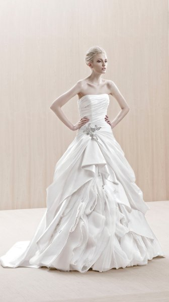 Wedding Dresses, A-line Wedding Dresses, Ball Gown Wedding Dresses, Fashion, white, ivory, Modern, City, Strapless, Strapless Wedding Dresses, A-line, Beading, Floor, Chiffon, Ballroom, Silk, Pick-ups, Ruching, Ball gown, Avant-Garde, Blue by Enzoani, Modern Wedding Dresses, Beaded Wedding Dresses, Chiffon Wedding Dresses, Silk Wedding Dresses, Floor Wedding Dresses