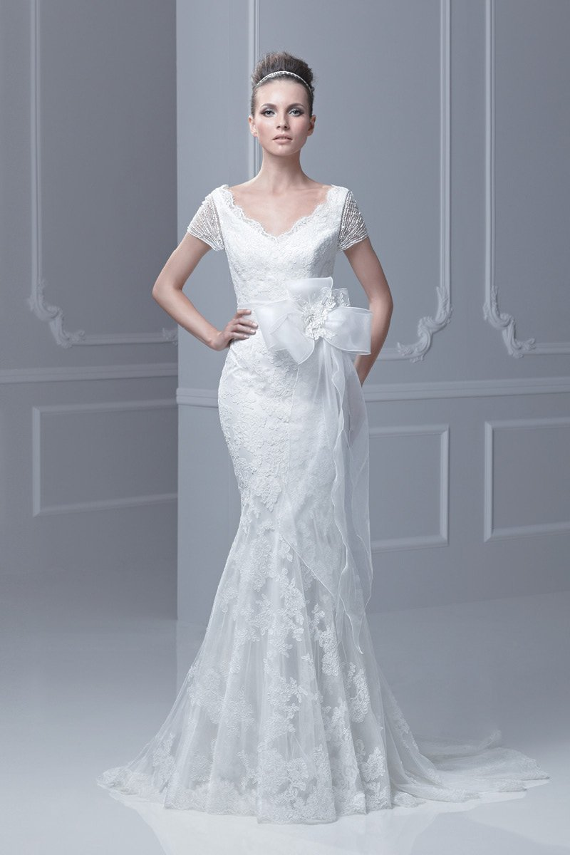 Wedding Dresses, Mermaid Wedding Dresses, Lace Wedding Dresses, Fashion, ivory, Spring, Modern, Garden, Flowers, Shabby Chic, Lace, V-neck, V-neck Wedding Dresses, Tulle, Floor, Country, Natural, Modest, Mermaid/Trumpet, Sash/Belt, Blue by Enzoani, short sleeve, Modern Wedding Dresses, trumpet wedding dresses, Spring Wedding Dresses, tulle wedding dresses, Flower Wedding Dresses, Floor Wedding Dresses, Modest Wedding Dresses, Shabby Chic Wedding Dresses, Sash Wedding Dresses, Belt Wedding Dresses