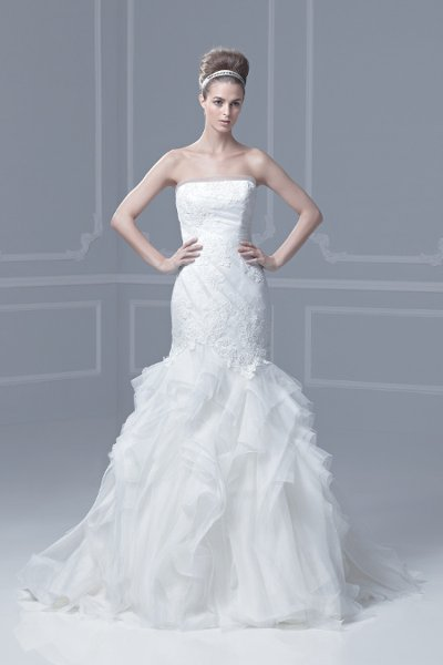 Wedding Dresses, Sweetheart Wedding Dresses, Mermaid Wedding Dresses, Lace Wedding Dresses, Fashion, ivory, Summer, Modern, Lace, Sweetheart, Strapless, Strapless Wedding Dresses, Tulle, Floor, Formal, Organza, Ballroom, Dropped, Museum, Mermaid/Trumpet, Blue by Enzoani, modern space, Modern Wedding Dresses, organza wedding dresses, trumpet wedding dresses, tulle wedding dresses, Formal Wedding Dresses, Summer Wedding Dresses, Floor Wedding Dresses