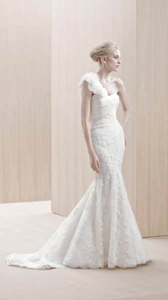 Wedding Dresses, Sweetheart Wedding Dresses, One-Shoulder Wedding Dresses, Mermaid Wedding Dresses, Lace Wedding Dresses, Romantic Wedding Dresses, Fashion, white, ivory, Modern, Garden, Shabby Chic, City, Romantic, Lace, Sweetheart, Strapless, Strapless Wedding Dresses, Tulle, Floor, Organza, Pleats, One-shoulder, Mermaid/Trumpet, Blue by Enzoani, Modern Wedding Dresses, organza wedding dresses, trumpet wedding dresses, tulle wedding dresses, Floor Wedding Dresses, Shabby Chic Wedding Dresses