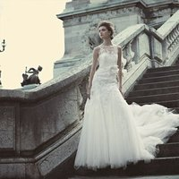 Wedding Dresses, A-line Wedding Dresses, Lace Wedding Dresses, Romantic Wedding Dresses, Hollywood Glam Wedding Dresses, Fashion, white, ivory, Spring, Summer, Fall, Winter, Flowers, Romantic, Lace, A-line, Floor, Formal, Dropped, Sleeveless, high-neck, hollywood glam, Blue by Enzoani, Spring Wedding Dresses, High Neck Wedding Dresses, winter wedding dresses, Flower Wedding Dresses, Fall Wedding Dresses, Formal Wedding Dresses, Summer Wedding Dresses, Floor Wedding Dresses