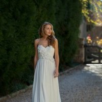 Wedding Dresses, Sweetheart Wedding Dresses, Fashion, Flowers, Sweetheart, Anne barge, Strapless, Strapless Wedding Dresses, Sheath, Chiffon, Natural, Ruching, Flower Wedding Dresses, Sheath Wedding Dresses, Chiffon Wedding Dresses