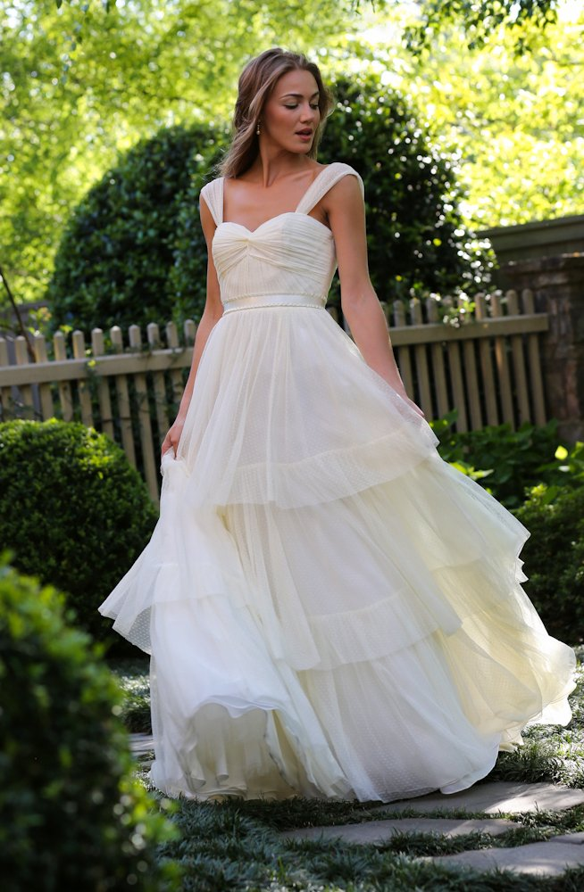 Wedding Dresses, Sweetheart Wedding Dresses, A-line Wedding Dresses, Fashion, Square, Sweetheart, Anne barge, A-line, Tulle, Natural, Tiers, Ruching, tulle wedding dresses, Square Neckline Wedding Dresses, Tiered Wedding Dresses