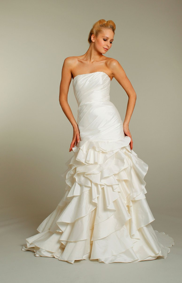 Wedding Dresses, Mermaid Wedding Dresses, Ruffled Wedding Dresses, Fashion, ivory, Modern, Shabby Chic, Strapless, Strapless Wedding Dresses, Floor, Silk, Ruffles, Tiers, Dropped, Taffeta, Sleeveless, Ruching, Mermaid/Trumpet, Fit-n-Flare, Jim Hjelm Blush, Modern Wedding Dresses, taffeta wedding dresses, trumpet wedding dresses, Silk Wedding Dresses, Floor Wedding Dresses, Shabby Chic Wedding Dresses, Tiered Wedding Dresses