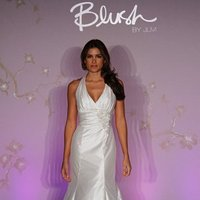 Wedding Dresses, Mermaid Wedding Dresses, Hollywood Glam Wedding Dresses, Fashion, white, ivory, Flowers, Beading, Halter, V-neck, V-neck Wedding Dresses, Floor, Silk, Sleeveless, Ruching, Shantung, Mermaid/Trumpet, hollywood glam, Jim Hjelm Blush, halter wedding dresses, Beaded Wedding Dresses, trumpet wedding dresses, Flower Wedding Dresses, Silk Wedding Dresses, Floor Wedding Dresses, Shantung Wedding Dresses