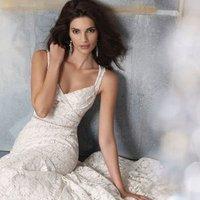 Wedding Dresses, A-line Wedding Dresses, Lace Wedding Dresses, Vintage Wedding Dresses, Fashion, white, ivory, Vintage, Lace, A-line, Spaghetti straps, V-neck, V-neck Wedding Dresses, Floor, Natural, Cotton, Sleeveless, Sash/Belt, Jim Hjelm Blush, Spahetti Strap Wedding Dresses, Floor Wedding Dresses, Cotton Wedding Dresses, Sash Wedding Dresses, Belt Wedding Dresses