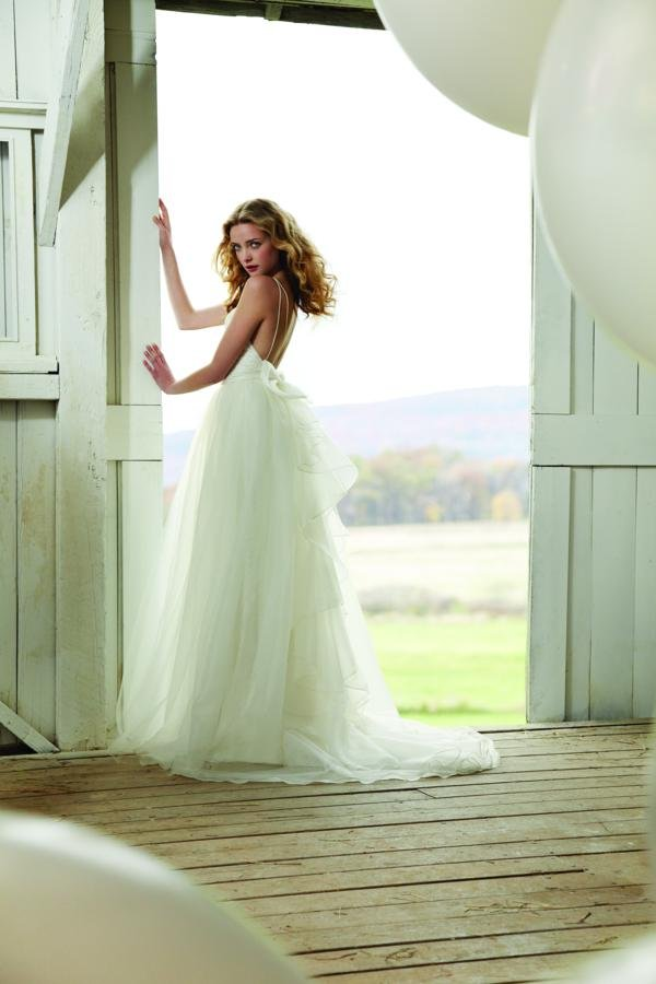 Wedding Dresses, Lace Wedding Dresses, Fashion, white, ivory, Boho Chic, Lace, Spaghetti straps, V-neck, V-neck Wedding Dresses, Sheath, Tulle, Floor, Organza, Sleeveless, Jim Hjelm Blush, organza wedding dresses, Boho Chic Wedding Dresses, tulle wedding dresses, Spahetti Strap Wedding Dresses, Sheath Wedding Dresses, Floor Wedding Dresses