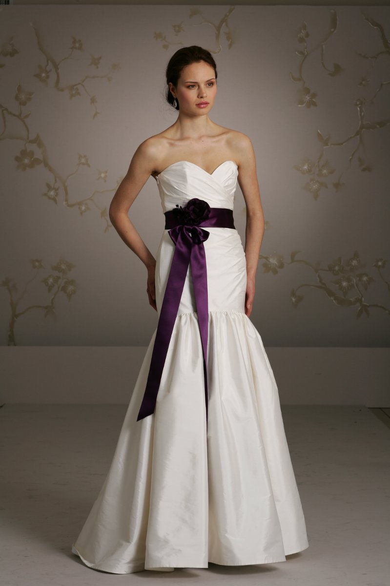 Ivory tissue taffeta aline bridal gown strapless draped for Purple and ivory wedding dress