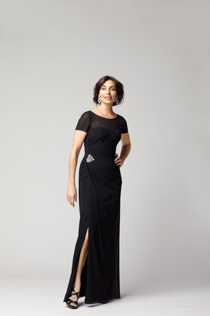 Sweetheart Wedding Dresses, Illusion Neckline Wedding Dresses, Fashion, black, Evening Dresses, Sweetheart, Chiffon, Illusion, C20, floor length, short sleeves, Chiffon Wedding Dresses
