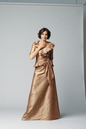 A-line Wedding Dresses, Ruffled Wedding Dresses, Fashion, gold, Evening Dresses, A-line, Silk, Ruffles, C20, floor length, 3/4 Sleeves, Silk Wedding Dresses