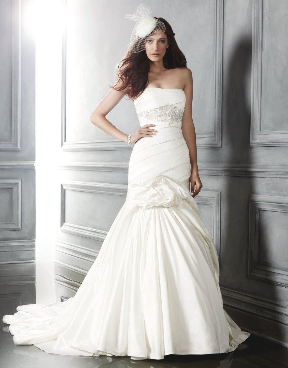 Wedding Dresses, Mermaid Wedding Dresses, Ruffled Wedding Dresses, Fashion, ivory, Strapless, Strapless Wedding Dresses, Beading, Floor, Formal, Ballroom, Ruffles, Ruching, Shantung, Cb couture, Avant-Garde, Fit-n-Flare, historic site, modern space, Beaded Wedding Dresses, Formal Wedding Dresses, Floor Wedding Dresses, Shantung Wedding Dresses