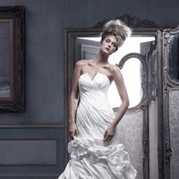 Wedding Dresses, Mermaid Wedding Dresses, Ruffled Wedding Dresses, Fashion, ivory, Strapless, Strapless Wedding Dresses, V-neck, V-neck Wedding Dresses, Floor, Formal, Ballroom, Ruffles, Pleats, Pick-ups, Shantung, Cb couture, Avant-Garde, Mermaid/Trumpet, historic site, trumpet wedding dresses, Formal Wedding Dresses, Floor Wedding Dresses, Shantung Wedding Dresses