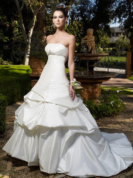 Wedding Dresses, A-line Wedding Dresses, Fashion, white, Strapless, Strapless Wedding Dresses, A-line, Beading, Empire, Floor, Formal, Ballroom, Pick-ups, Shantung, Cb couture, Avant-Garde, historic site, modern space, Beaded Wedding Dresses, Formal Wedding Dresses, Floor Wedding Dresses, Shantung Wedding Dresses