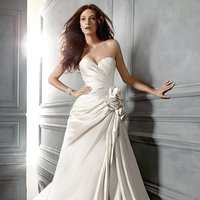 Wedding Dresses, Sweetheart Wedding Dresses, A-line Wedding Dresses, Fashion, ivory, Modern, Flowers, Sweetheart, Strapless, Strapless Wedding Dresses, A-line, Floor, Formal, Ballroom, Silk, Pick-ups, Ruching, Cb couture, historic site, modern space, Modern Wedding Dresses, Flower Wedding Dresses, Formal Wedding Dresses, Silk Wedding Dresses, Floor Wedding Dresses