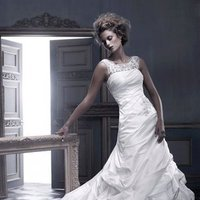 Wedding Dresses, A-line Wedding Dresses, Fashion, ivory, A-line, Beading, Jewel, Floor, Formal, Ballroom, Museum, Pick-ups, Sleeveless, Ruching, Shantung, Cb couture, Avant-Garde, modern space, Beaded Wedding Dresses, Jewel Wedding Dresses, Formal Wedding Dresses, Floor Wedding Dresses, Shantung Wedding Dresses