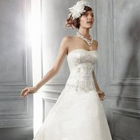 Wedding Dresses, A-line Wedding Dresses, Fashion, ivory, Winter, Modern, Classic, Vineyard, Strapless, Strapless Wedding Dresses, A-line, Beading, Floor, Ballroom, Silk, Pick-ups, Cb couture, historic site, Modern Wedding Dresses, Beaded Wedding Dresses, Classic Wedding Dresses, winter wedding dresses, Silk Wedding Dresses, Floor Wedding Dresses