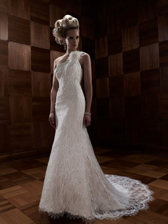 Wedding Dresses, One-Shoulder Wedding Dresses, Mermaid Wedding Dresses, Lace Wedding Dresses, Romantic Wedding Dresses, Fashion, ivory, Vineyard, Garden, Flowers, Shabby Chic, Romantic, Lace, Beading, Floor, Formal, Country, Sleeveless, One-shoulder, Cb couture, Fit-n-Flare, Beaded Wedding Dresses, Flower Wedding Dresses, Formal Wedding Dresses, Floor Wedding Dresses, Shabby Chic Wedding Dresses