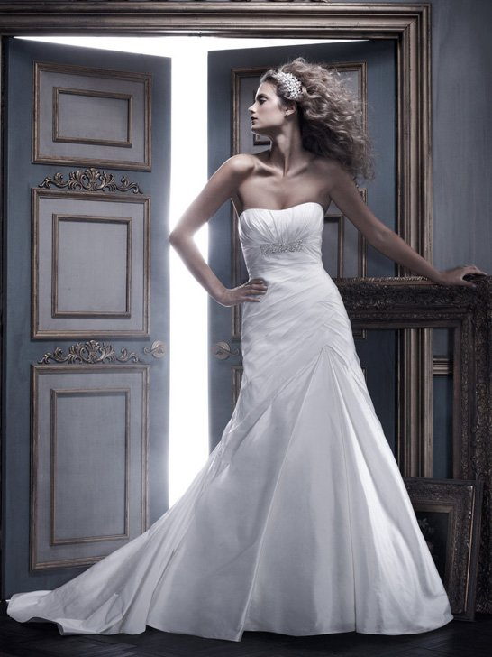 Wedding Dresses, A-line Wedding Dresses, Fashion, ivory, Summer, Strapless, Strapless Wedding Dresses, A-line, Beading, Floor, Formal, Ballroom, Country club, Pleats, Ruching, Shantung, Cb couture, historic site, Beaded Wedding Dresses, Formal Wedding Dresses, Summer Wedding Dresses, Floor Wedding Dresses, Shantung Wedding Dresses