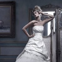 Wedding Dresses, Ball Gown Wedding Dresses, Fashion, ivory, Strapless, Strapless Wedding Dresses, Beading, Floor, Formal, Ballroom, Silk, Pleats, Ruching, Ball gown, Cb couture, Avant-Garde, historic site, modern space, Beaded Wedding Dresses, Formal Wedding Dresses, Silk Wedding Dresses, Floor Wedding Dresses