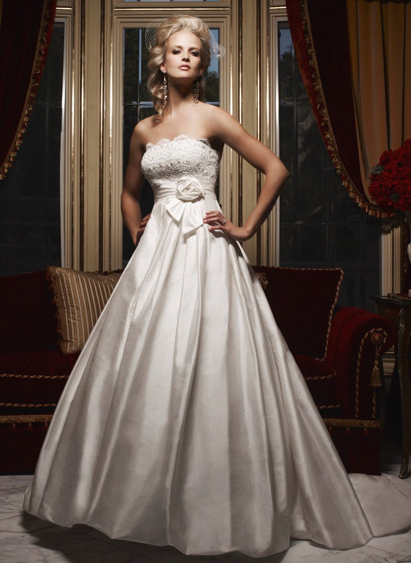 Style b028 silk shantung gown with beaded lace embellished for Lace top silk bottom wedding dress