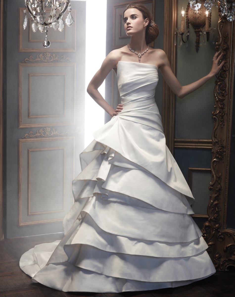 Wedding Dresses, A-line Wedding Dresses, Ball Gown Wedding Dresses, Fashion, white, ivory, Modern, Strapless, Strapless Wedding Dresses, A-line, Floor, Silk, Tiers, Hip, Sleeveless, Ball gown, Cb couture, Modern Wedding Dresses, Silk Wedding Dresses, Floor Wedding Dresses, Hip Wedding Dresses, Tiered Wedding Dresses