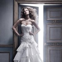 Wedding Dresses, Sweetheart Wedding Dresses, Ball Gown Wedding Dresses, Ruffled Wedding Dresses, Fashion, ivory, Sweetheart, Strapless, Strapless Wedding Dresses, Floor, Formal, Ballroom, Silk, Ruffles, Tiers, Dropped, Pleats, Ball gown, Cb couture, Avant-Garde, Formal Wedding Dresses, Silk Wedding Dresses, Floor Wedding Dresses, Tiered Wedding Dresses