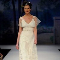 Wedding Dresses, Lace Wedding Dresses, Romantic Wedding Dresses, Fashion, ivory, Eco-Friendly, Vineyard, Garden, Shabby Chic, Boho Chic, Romantic, Lace, Beading, V-neck, V-neck Wedding Dresses, Tulle, Floor, Claire pettibone, Sash/Belt, short sleeve, illusion sleeves, Beaded Wedding Dresses, Boho Chic Wedding Dresses, tulle wedding dresses, Floor Wedding Dresses, Shabby Chic Wedding Dresses, Sash Wedding Dresses, Belt Wedding Dresses, Eco Friendly Wedding Dresses