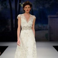 Wedding Dresses, A-line Wedding Dresses, Lace Wedding Dresses, Romantic Wedding Dresses, Fashion, ivory, Eco-Friendly, Garden, Shabby Chic, Boho Chic, Romantic, Lace, A-line, Beading, V-neck, V-neck Wedding Dresses, Floor, Natural, Claire pettibone, Sash/Belt, cap sleeve, illusion sleeves, Beaded Wedding Dresses, Boho Chic Wedding Dresses, Floor Wedding Dresses, Shabby Chic Wedding Dresses, Sash Wedding Dresses, Belt Wedding Dresses, Eco Friendly Wedding Dresses