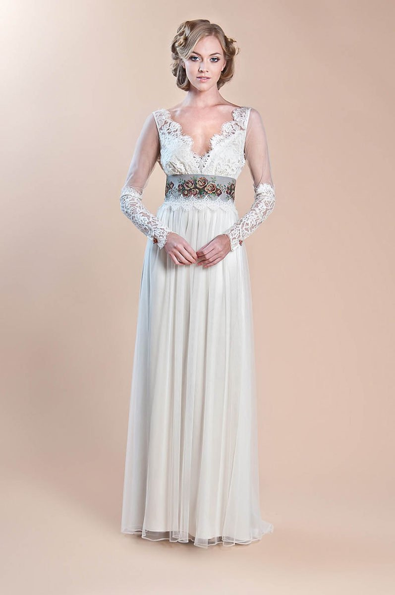 A-line, Boho Chic, Claire pettibone, Cotton, Eco-Friendly, Floor, Garden, illusion sleeves, ivory, Lace, Long sleeve, Natural, Sash/Belt, Tulle, V-neck, Vintage, Wedding Dresses, Fashion, V-neck Wedding Dresses, Floor Wedding Dresses, Sash Wedding Dresses, Belt Wedding Dresses, Cotton Wedding Dresses, Lace Wedding Dresses, tulle wedding dresses, Boho Chic Wedding Dresses, Eco Friendly Wedding Dresses, Vintage Wedding Dresses, A-line Wedding Dresses