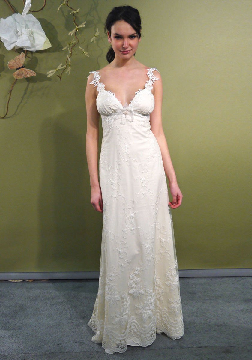 Constance ivory cotton embroidered sheath over cotton for Simple cotton wedding dress