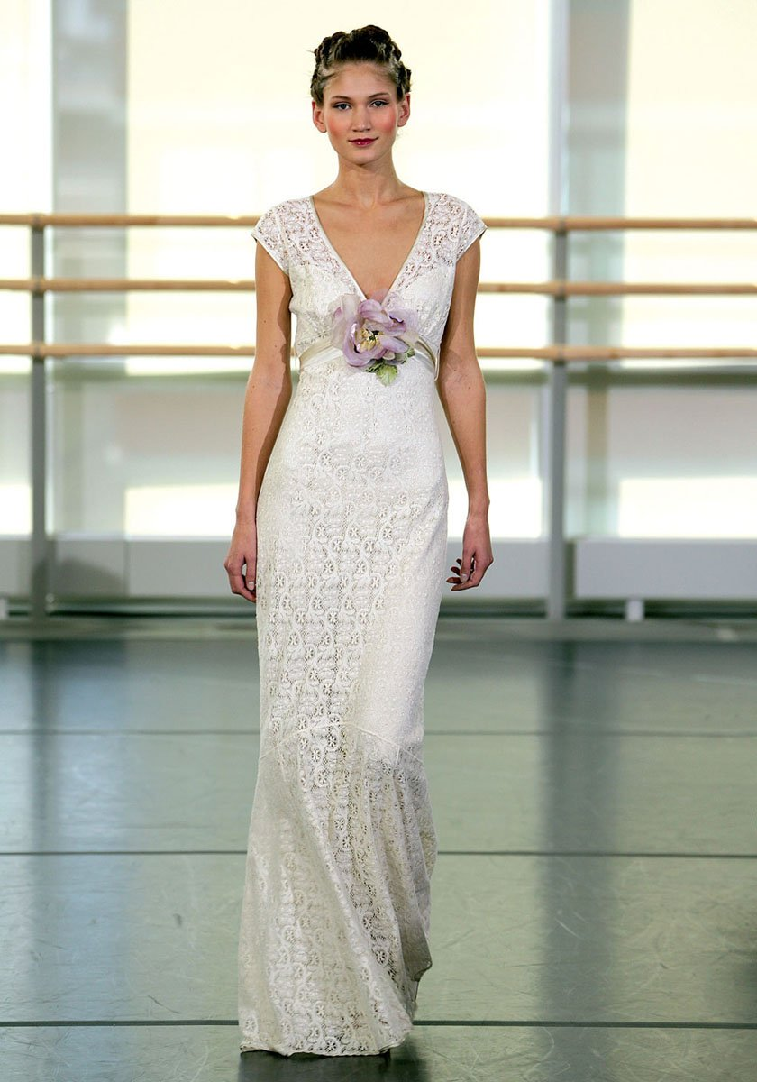 Yolanda ivory cotton crochet lace over platinum silk for Simple cotton wedding dress