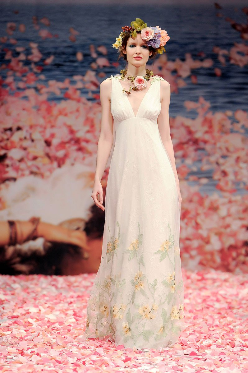 Wedding Dresses, A-line Wedding Dresses, Lace Wedding Dresses, Romantic Wedding Dresses, Fashion, ivory, Eco-Friendly, Garden, Flowers, Shabby Chic, Boho Chic, Romantic, Lace, A-line, Beading, Empire, V-neck, V-neck Wedding Dresses, Petals, Floor, Sleeveless, Claire pettibone, Beaded Wedding Dresses, Boho Chic Wedding Dresses, Flower Wedding Dresses, Floor Wedding Dresses, Shabby Chic Wedding Dresses, Eco Friendly Wedding Dresses