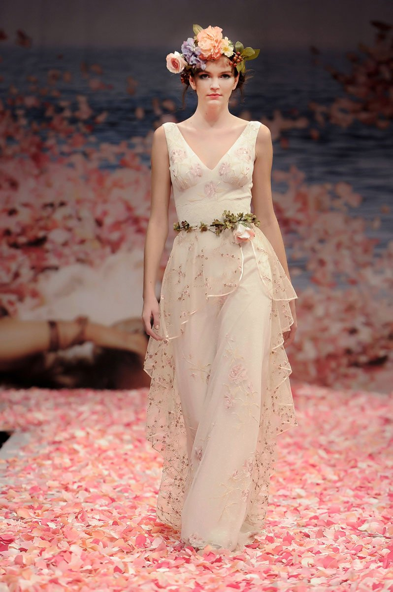 Wedding Dresses, Fashion, ivory, Eco-Friendly, Garden, Flowers, Boho Chic, V-neck, V-neck Wedding Dresses, Sheath, Tulle, Petals, Floor, Linen, Natural, Tiers, Sleeveless, Claire pettibone, Sash/Belt, Boho Chic Wedding Dresses, tulle wedding dresses, Flower Wedding Dresses, Sheath Wedding Dresses, Floor Wedding Dresses, Linen Wedding Dresses, Sash Wedding Dresses, Belt Wedding Dresses, Tiered Wedding Dresses, Eco Friendly Wedding Dresses