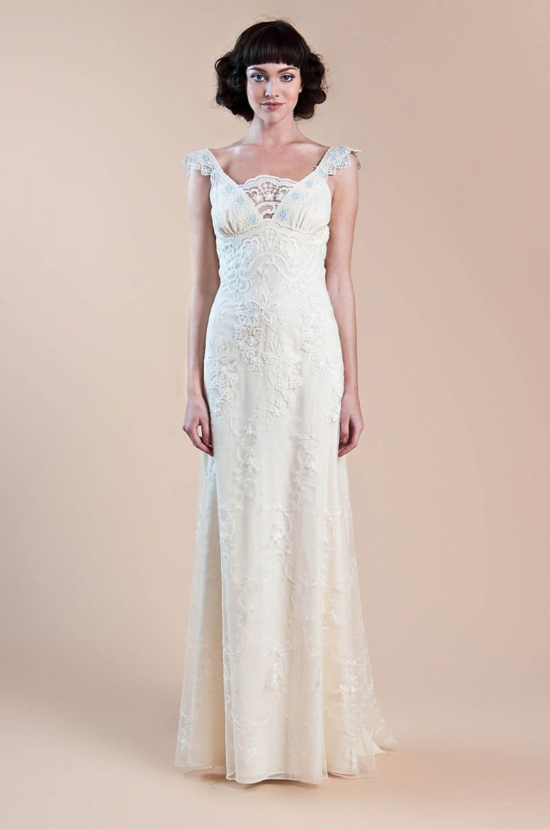 Wedding Dresses, Romantic Wedding Dresses, Fashion, ivory, Rustic, Eco-Friendly, Boho Chic, Romantic, Barn, V-neck, V-neck Wedding Dresses, Sheath, Tulle, Floor, Country, Cotton, Claire pettibone, Sash/Belt, cap sleeve, rustic wedding dresses, Boho Chic Wedding Dresses, tulle wedding dresses, Sheath Wedding Dresses, Floor Wedding Dresses, Cotton Wedding Dresses, Sash Wedding Dresses, Belt Wedding Dresses, Eco Friendly Wedding Dresses