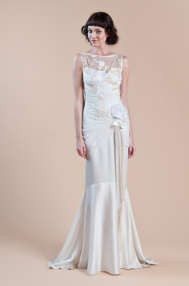 Wedding Dresses, Illusion Neckline Wedding Dresses, Mermaid Wedding Dresses, Romantic Wedding Dresses, Vintage Wedding Dresses, Fashion, ivory, Vintage, Eco-Friendly, Vineyard, Garden, Flowers, Shabby Chic, Boho Chic, Romantic, Floor, Silk, Illusion, Sleeveless, Claire pettibone, Fit-n-Flare, bateau, Bateau Wedding Dresses, Boho Chic Wedding Dresses, Flower Wedding Dresses, Silk Wedding Dresses, Floor Wedding Dresses, Shabby Chic Wedding Dresses, Eco Friendly Wedding Dresses