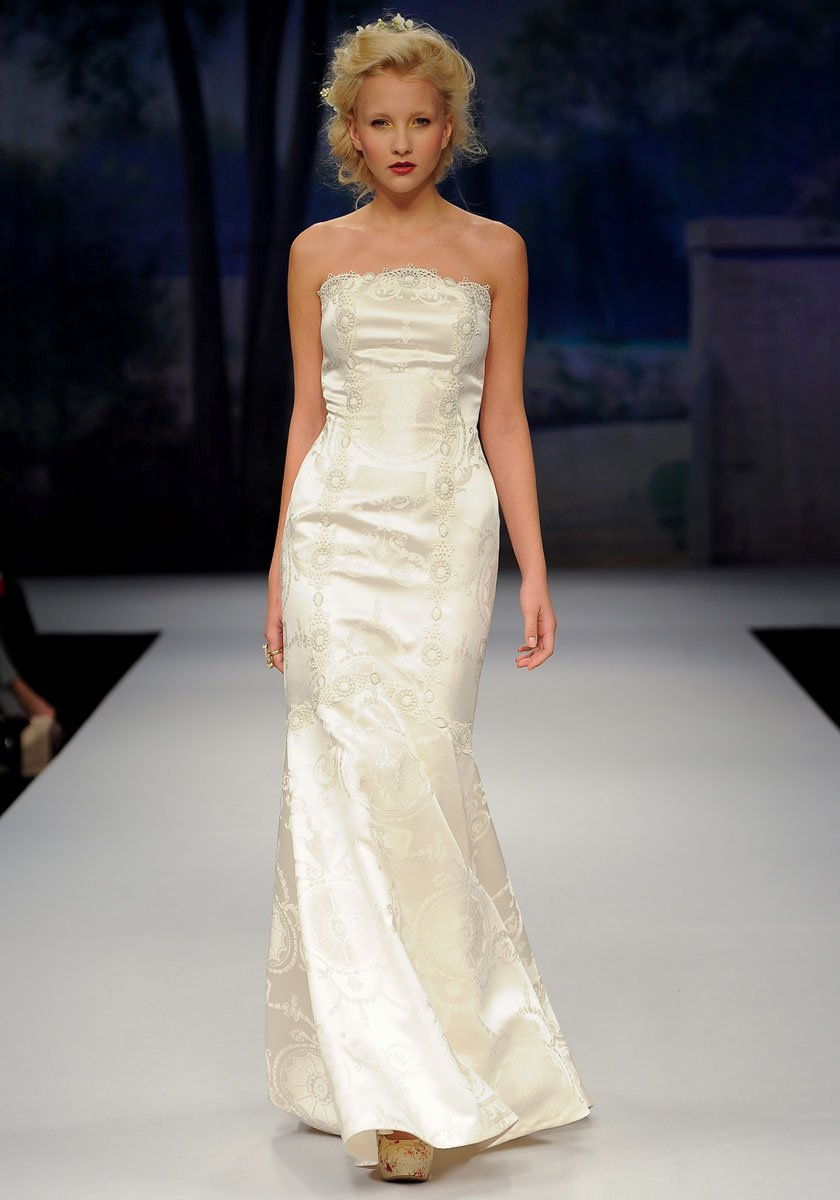 Wedding Dresses, Mermaid Wedding Dresses, Romantic Wedding Dresses, Vintage Wedding Dresses, Fashion, ivory, Summer, Vintage, Eco-Friendly, Vineyard, Garden, Shabby Chic, Boho Chic, Romantic, Strapless, Strapless Wedding Dresses, Satin, Floor, Country, Claire pettibone, Mermaid/Trumpet, trumpet wedding dresses, Boho Chic Wedding Dresses, satin wedding dresses, Summer Wedding Dresses, Floor Wedding Dresses, Shabby Chic Wedding Dresses, Eco Friendly Wedding Dresses