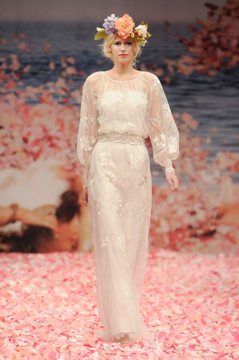 Wedding Dresses, Illusion Neckline Wedding Dresses, Lace Wedding Dresses, Fashion, ivory, Eco-Friendly, Garden, Boho Chic, Lace, Sheath, Tulle, Floor, Linen, Natural, Scoop, Illusion, Long sleeve, Claire pettibone, Sash/Belt, illusion sleeves, Boho Chic Wedding Dresses, tulle wedding dresses, Sheath Wedding Dresses, Scoop Neckline Wedding Dresses, Floor Wedding Dresses, Linen Wedding Dresses, Sash Wedding Dresses, Belt Wedding Dresses, Eco Friendly Wedding Dresses