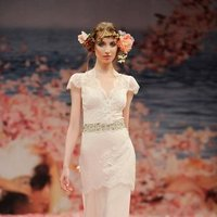 Wedding Dresses, Lace Wedding Dresses, Fashion, ivory, Eco-Friendly, Garden, Flowers, Boho Chic, Lace, Beading, Floor, Linen, Natural, Tiers, Claire pettibone, Sash/Belt, cap sleeve, illusion sleeves, Queen Anne, Beaded Wedding Dresses, Boho Chic Wedding Dresses, Flower Wedding Dresses, Floor Wedding Dresses, Linen Wedding Dresses, Sash Wedding Dresses, Belt Wedding Dresses, Tiered Wedding Dresses, Eco Friendly Wedding Dresses, Queen Anne Wedding Dresses