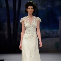 Wedding Dresses, Romantic Wedding Dresses, Fashion, ivory, Eco-Friendly, Garden, Flowers, Boho Chic, Romantic, Beading, V-neck, V-neck Wedding Dresses, Sheath, Tulle, Petals, Floor, Silk, Claire pettibone, cap sleeve, illusion sleeves, Beaded Wedding Dresses, Boho Chic Wedding Dresses, tulle wedding dresses, Flower Wedding Dresses, Sheath Wedding Dresses, Silk Wedding Dresses, Floor Wedding Dresses, Eco Friendly Wedding Dresses