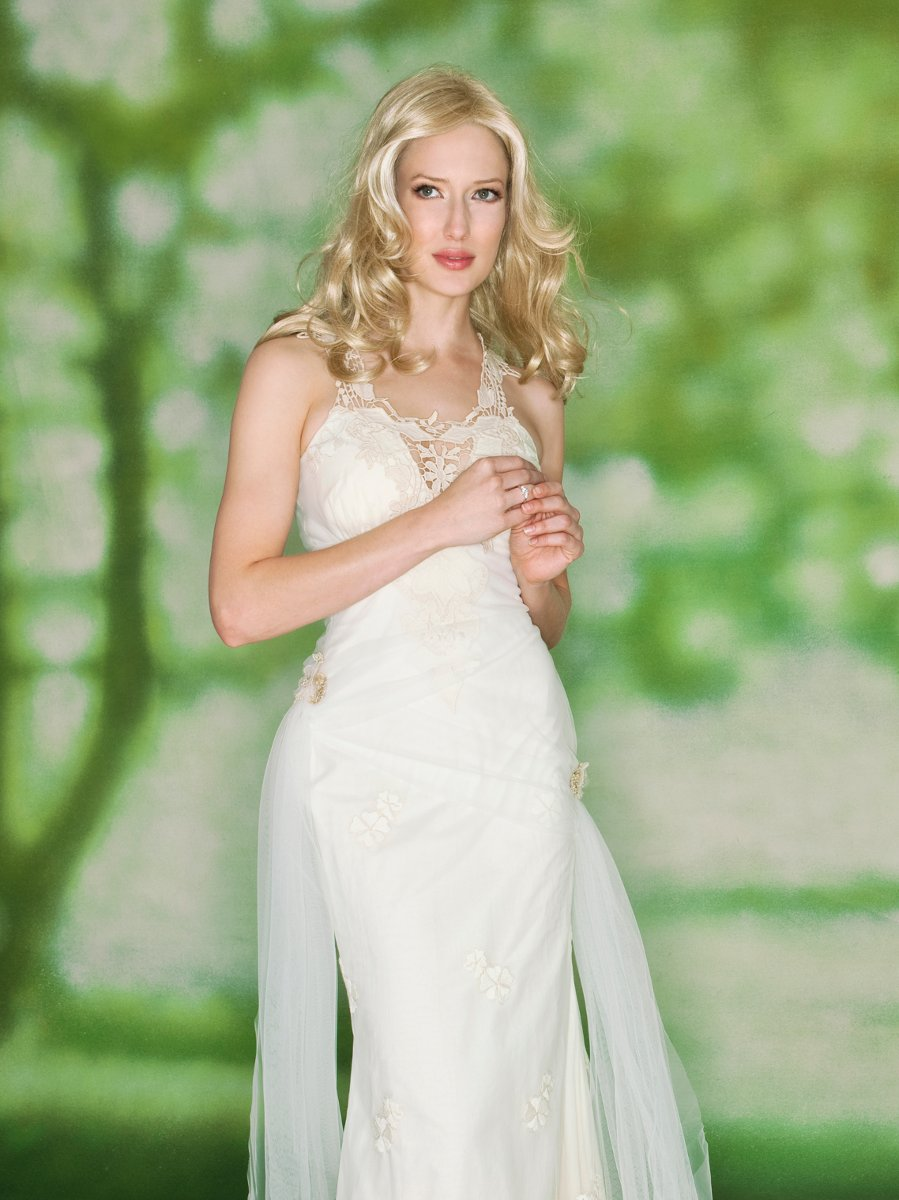 Wedding Dresses, Fashion, white, Spring, Fall, Eco-Friendly, Flowers, Boho Chic, Halter, V-neck, V-neck Wedding Dresses, Sheath, Tulle, Floor, Natural, Cotton, Sleeveless, Claire pettibone, halter wedding dresses, Boho Chic Wedding Dresses, Spring Wedding Dresses, tulle wedding dresses, Flower Wedding Dresses, Fall Wedding Dresses, Sheath Wedding Dresses, Floor Wedding Dresses, Cotton Wedding Dresses, Eco Friendly Wedding Dresses