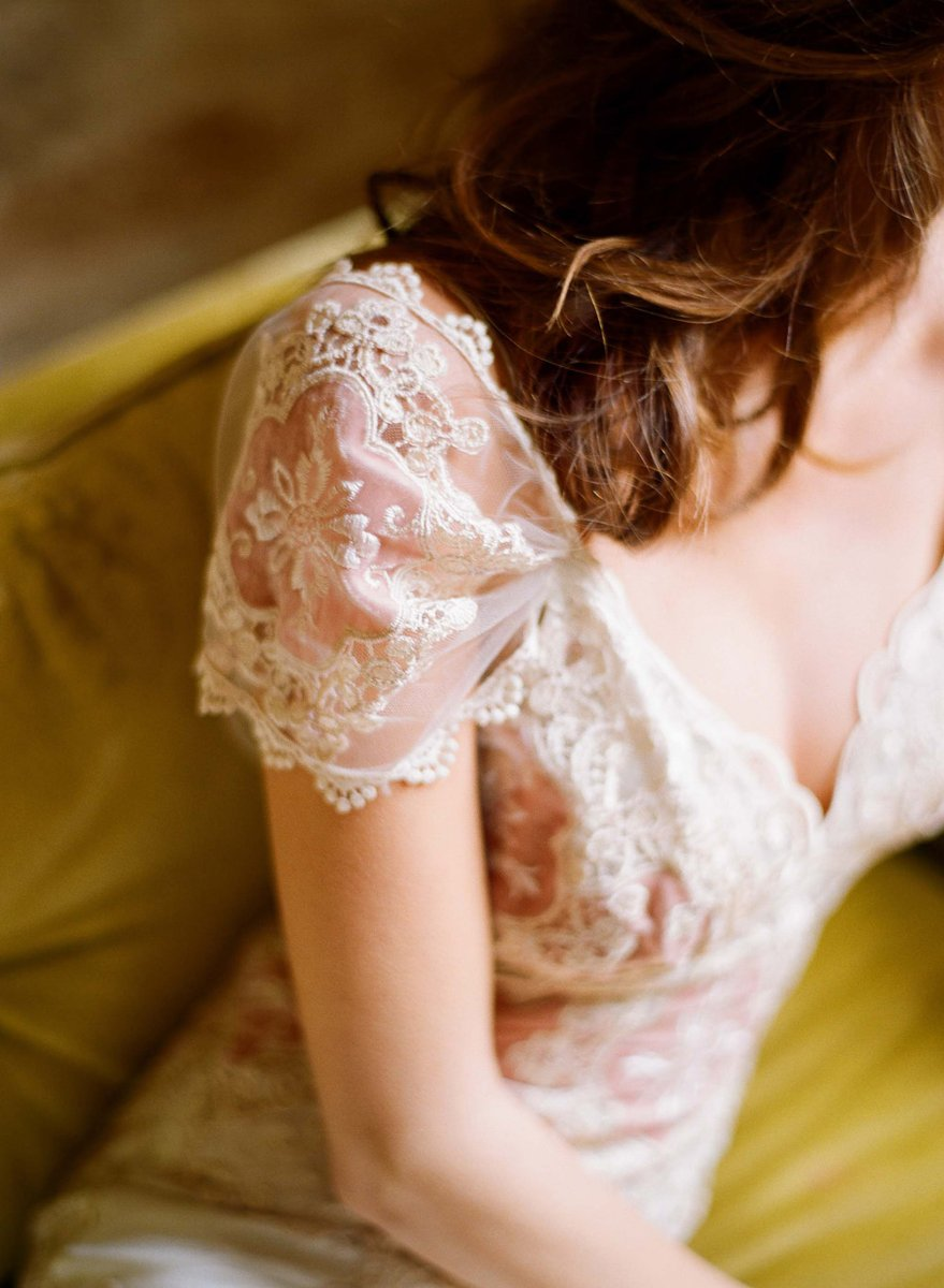Wedding Dresses, Romantic Wedding Dresses, Vintage Wedding Dresses, Fashion, ivory, Vintage, Eco-Friendly, Vineyard, Garden, Shabby Chic, Boho Chic, Romantic, V-neck, V-neck Wedding Dresses, Sheath, Floor, Country, Silk, Claire pettibone, cap sleeve, illusion sleeves, Boho Chic Wedding Dresses, Sheath Wedding Dresses, Silk Wedding Dresses, Floor Wedding Dresses, Shabby Chic Wedding Dresses, Eco Friendly Wedding Dresses