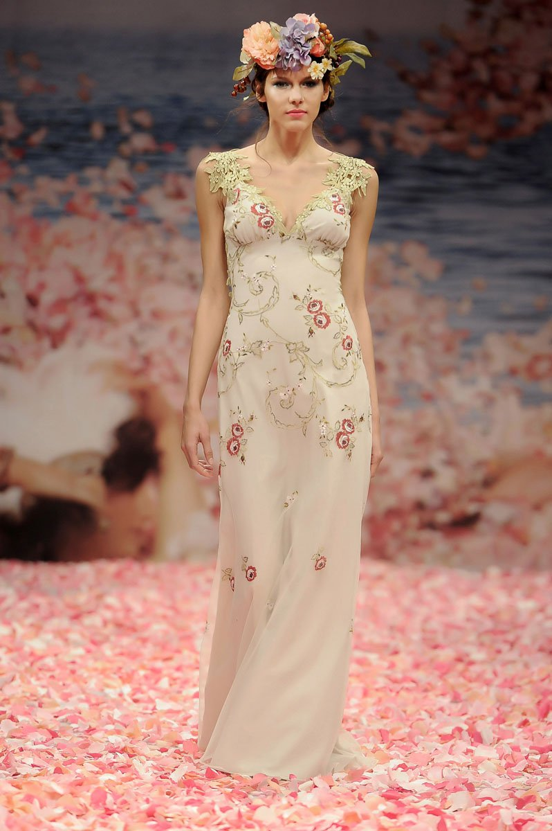 Wedding Dresses, Romantic Wedding Dresses, Vintage Wedding Dresses, Fashion, ivory, Vintage, Eco-Friendly, Vineyard, Garden, Flowers, Shabby Chic, Boho Chic, Romantic, V-neck, V-neck Wedding Dresses, Sheath, Petals, Floor, Linen, Country, Claire pettibone, Boho Chic Wedding Dresses, Flower Wedding Dresses, Sheath Wedding Dresses, Floor Wedding Dresses, Linen Wedding Dresses, Shabby Chic Wedding Dresses, Eco Friendly Wedding Dresses