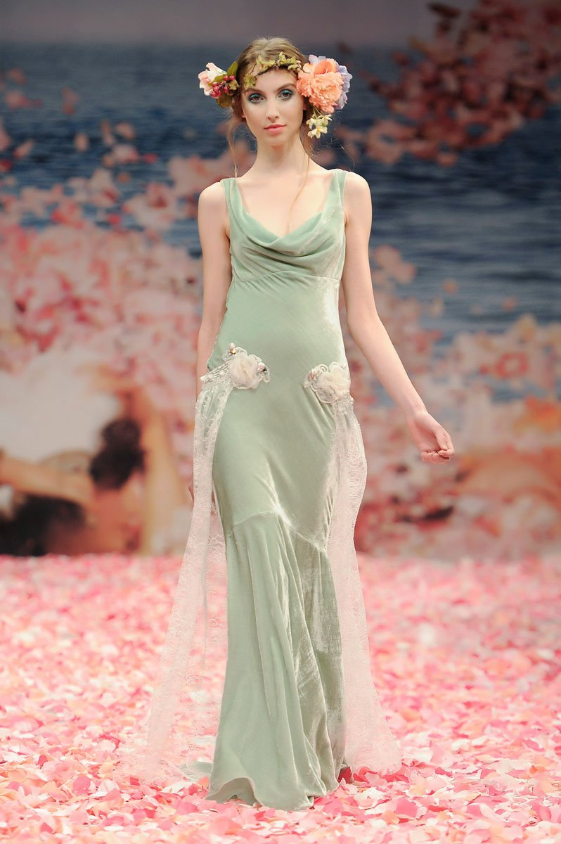 Wedding Dresses, Romantic Wedding Dresses, Fashion, green, Eco-Friendly, Vineyard, Garden, Flowers, Boho Chic, Romantic, Beading, Sheath, Floor, Country, Velvet, Sleeveless, Claire pettibone, Cowl, Beaded Wedding Dresses, Boho Chic Wedding Dresses, Flower Wedding Dresses, Sheath Wedding Dresses, Floor Wedding Dresses, Velvet Wedding Dresses, Cowl Wedding Dresses, Eco Friendly Wedding Dresses