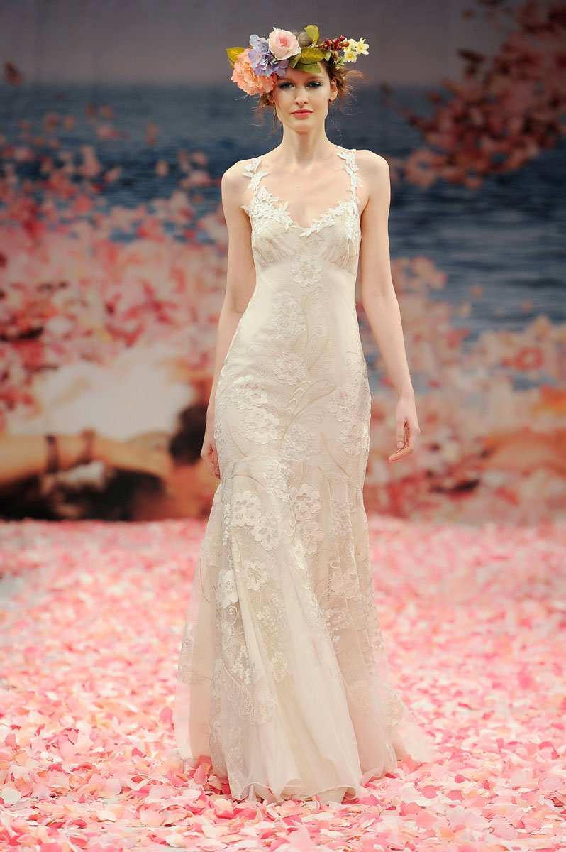 Wedding Dresses, Mermaid Wedding Dresses, Romantic Wedding Dresses, Fashion, ivory, Eco-Friendly, Vineyard, Garden, Flowers, Boho Chic, Romantic, V-neck, V-neck Wedding Dresses, Petals, Floor, Linen, Sleeveless, Claire pettibone, Mermaid/Trumpet, trumpet wedding dresses, Boho Chic Wedding Dresses, Flower Wedding Dresses, Floor Wedding Dresses, Linen Wedding Dresses, Eco Friendly Wedding Dresses