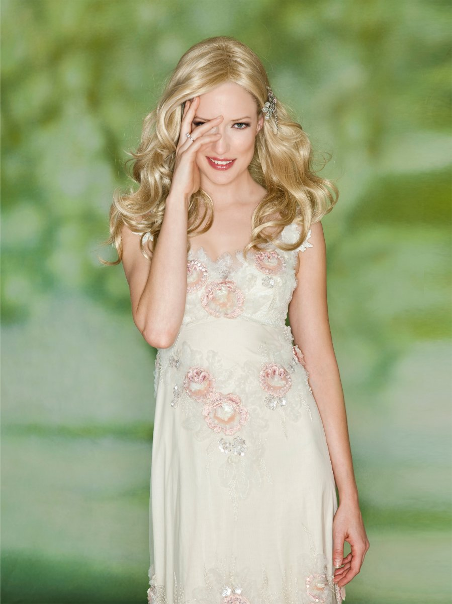 RHOSWEN Empire silhouette with soft pink flowers and ivory tulle