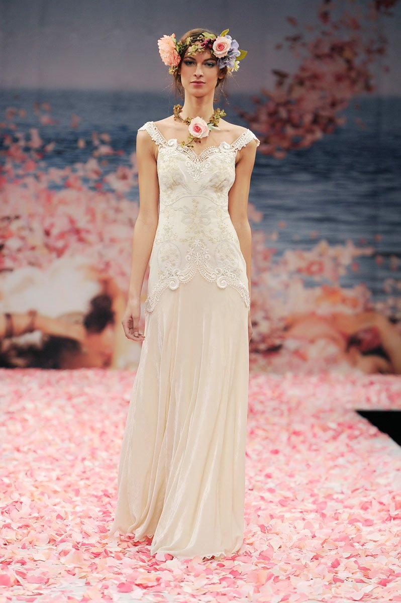 Wedding Dresses, Mermaid Wedding Dresses, Romantic Wedding Dresses, Vintage Wedding Dresses, Fashion, ivory, Vintage, Rustic, Eco-Friendly, Vineyard, Garden, Boho Chic, Romantic, V-neck, V-neck Wedding Dresses, Floor, Country, Velvet, Sleeveless, Claire pettibone, Fit-n-Flare, rustic wedding dresses, Boho Chic Wedding Dresses, Floor Wedding Dresses, Velvet Wedding Dresses, Eco Friendly Wedding Dresses