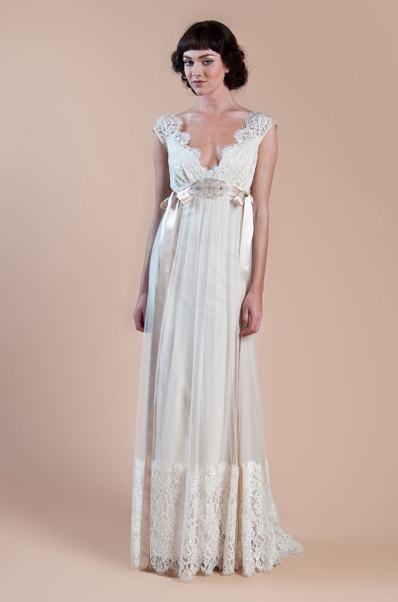 Queen annes lace ivory cotton and tulle empire silhouette for Organic cotton wedding dress